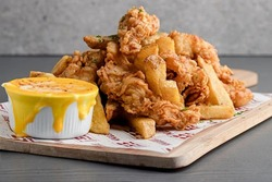 Chicken Fingers with Molten Cheese Dip image