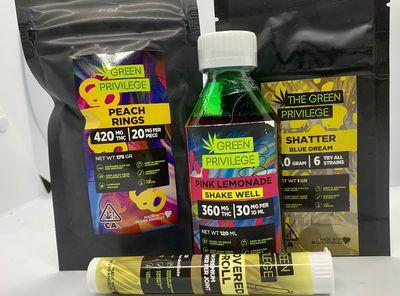 Green Privilege Bundle - 1 Preroll, 1 Syrup, 1g Shatter, 1 bag Gummies image