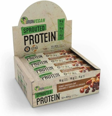 IRON VEGAN SPROUTED PROTEIN BARS | 12 PACK 12x62g - 4 Flavours image