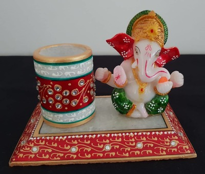 Pen Stand with Elephant - Red & Green image