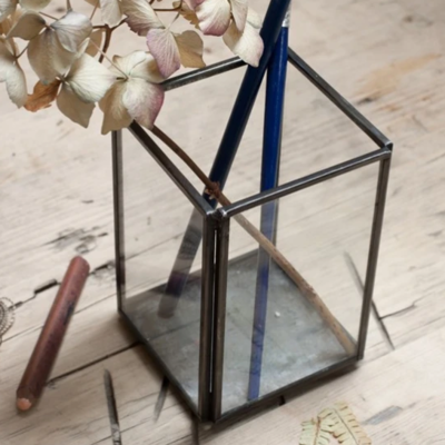 Antiqued Metal and Glass Pen Pot image
