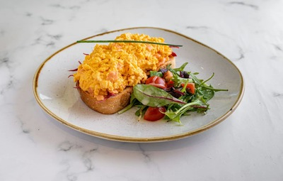 Scrambled Egg and Smoked Salmon on Country Toast image