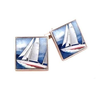 Sailing Gipsy Moth Vintage Stamp Cufflinks  image