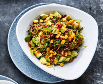 Quinoa, avocado, corn, peppers and pomegranate, sweet & sour emulsion dressing image