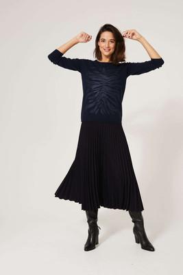 Sweater with Zebra Print Motif - Navy image