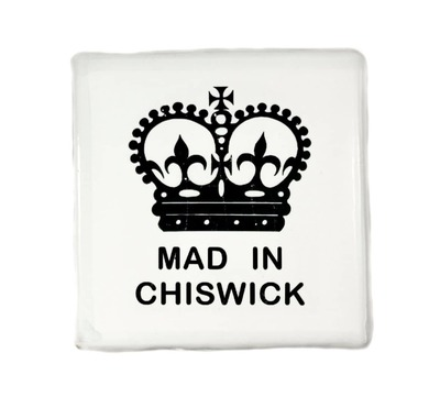 MAD IN CHISWICK (White - pale blue border) image
