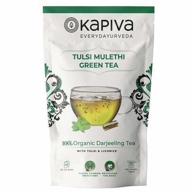 Kapiva 100% Organic Tulsi Mulethi Darjeeling Green Tea - Helps Boost Digestion - 36 Tea Bags image
