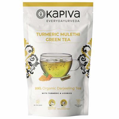 Kapiva 100% Organic Turmeric Mulethi Darjeeling Green Tea - Helps Boost Immunity - 36 Tea Bags image