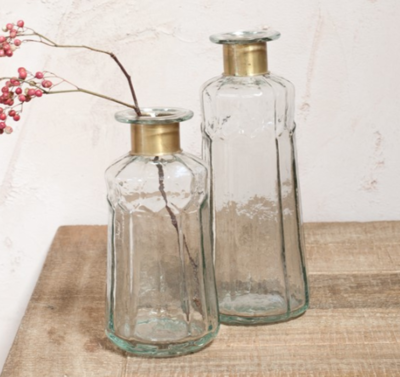 Hammered Glass Bottles with Brass Ring image
