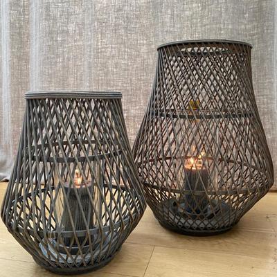 Dove Grey Bamboo Lantern - Anita - Broste Copenhagen - Two Sizes image