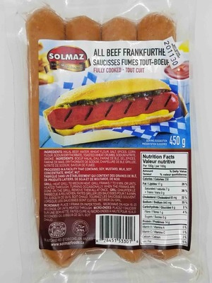 Solmaz, All Beef Frankfurther (fully cooked) 450 g image