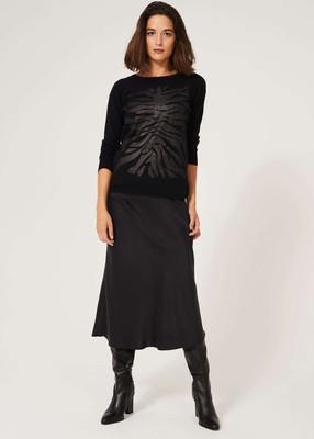 Sweater with Zebra Print Motif - Black image