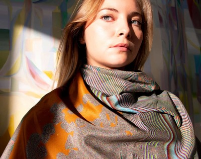 'Amber' Pure Silk Scarf Limited Edition Print  image