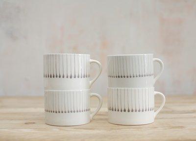 Handmade Ceramic Squat Mug from Vietnam - Grey Matchstick Design image