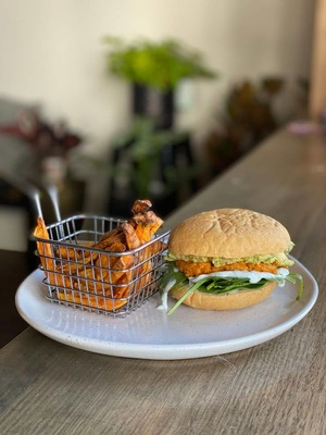 Veggie Burger with Sweet Potato Chips image