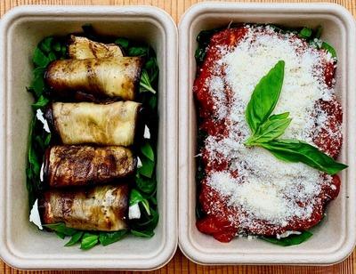 Baked aubergine parmigiana rolls serves 2 image