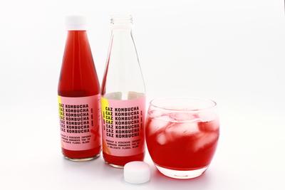 Caz Kombucha, Fermented Tea, Hip & Rosy, Rosehip and Hibiscus Kombucha Tea, 250ml bottle image