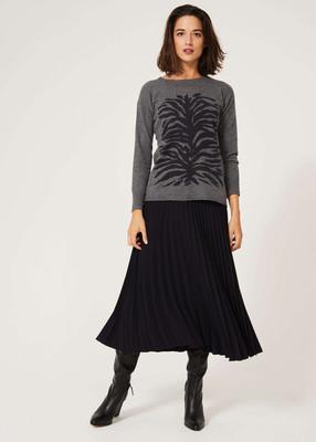 Sweater with Zebra Print Motif - Grey image