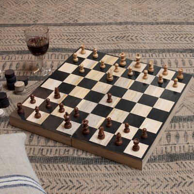 Wooden Chess and Draughts Set image