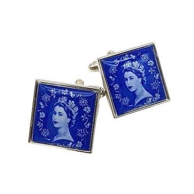 1950s/1960s QEII Real Stamp Cufflinks  image
