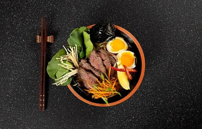 Rolled Wagyu Beef BrisketRamen with homemade 22hr slow cooked Beef Bone Broth (preservative free) image