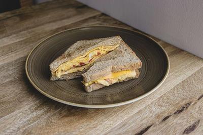 Scrambled Egg Cheese Tomato Toast image