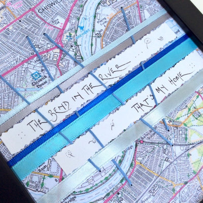Chiswick Collection - Bend In The River - Chiswick Map Detail - Map Detail Gift - Woven Words - A5 Framed Gift image