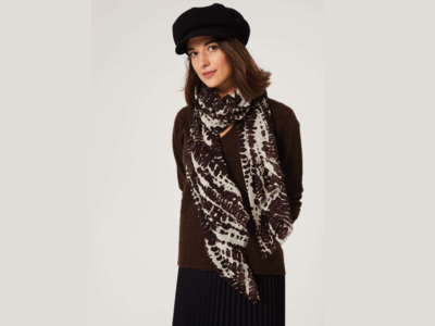 Snake Print Scarf - Bitter Chocolate Brown on Ivory image