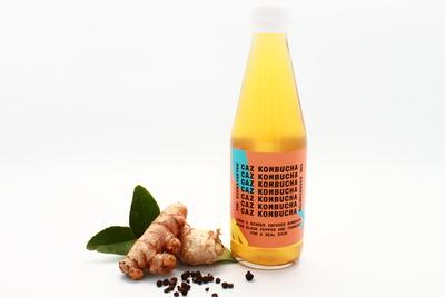 Caz Kombucha, Fermented Tea, The Kickstarter, Lemon and Zinger Kombucha Tea with Black pepper and Tumeric, 250ml bottle image