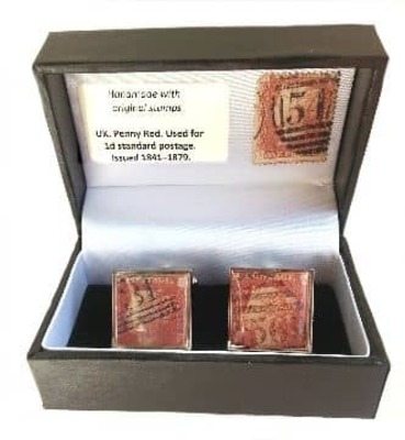 Penny Red Vintage Stamp Cufflinks  image