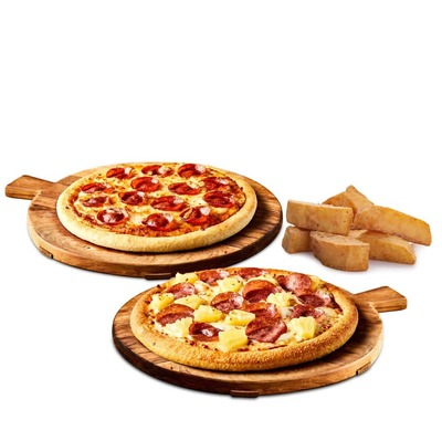 Any 2 Medium Pizza Plus Wedges image