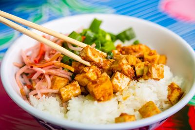Spicy Garlic Tofu Rice Bowl image