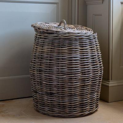 Large Rattan Lidded Laundry Basket image